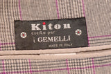 KITON Napoli Gray Prince Of Wales Cashmere Linen Blazer Jacket NEW R8 Slim Fit - SARTORIALE - 5