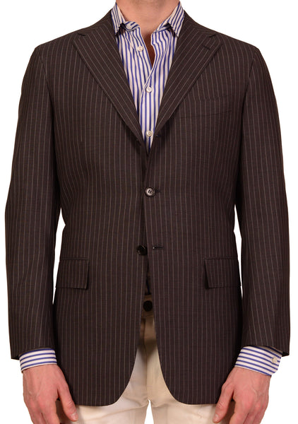 KITON Napoli Gray Striped 14 Micron Super 180's Jacket EU 50 NEW US 38 40 - SARTORIALE - 1