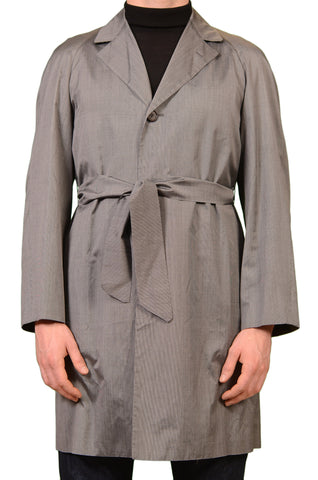 KITON Napoli CIPA 1960 Gray Striped Silk Belted Spring Over Coat EU 46 NEW US 36