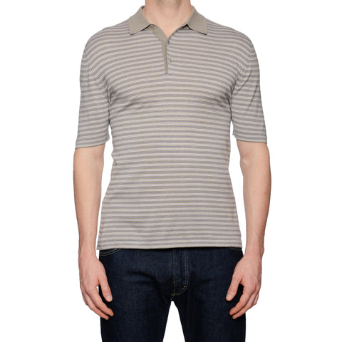 KITON Napoli Gray Striped Cotton Polo Shirt EU 50 NEW US M