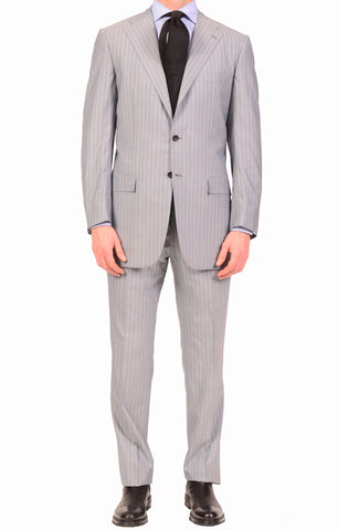 KITON Napoli Gray Super 180's 14 Micron Wool-Silk Suit EU 50 NEW US 40 Long - SARTORIALE - 1