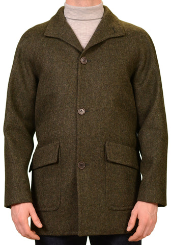KITON Napoli CIPA 1960 Green Wool Tweed Coat Jacket EU 50 NEW US 38 40