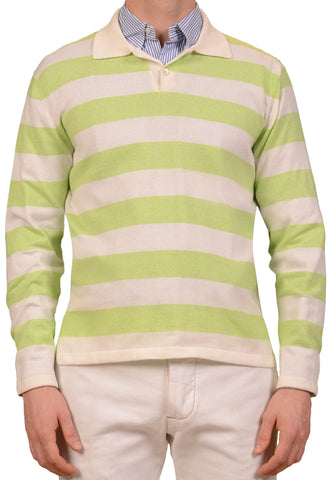 KITON Napoli Green White Striped Cashmere Cotton Polo Sweater