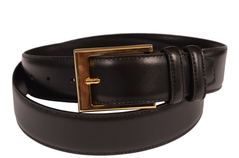 KITON Napoli Hand-Made Black Leather Brass Buckle Dress Belt NEW With Box - SARTORIALE - 1