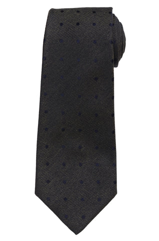 KITON Napoli Hand-Made Navy Blue/Green Woven Dot Silk Tie NEW