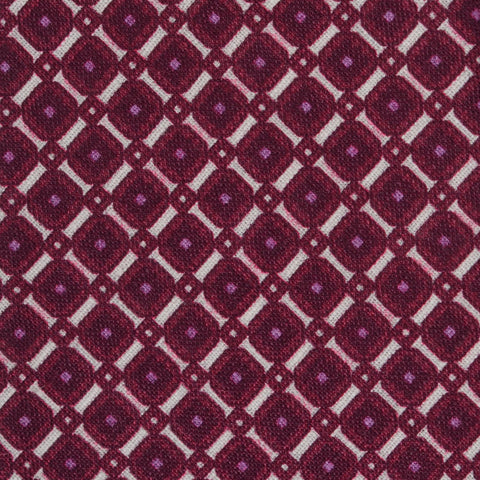 KITON Napoli Hand-Made Purple Square Medallion Silk-Linen Tie NEW