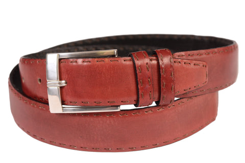 "KITON Napoli Red Hand-Stitched Leather Dress Belt 100 cm 40"" NEW With Box - SARTORIALE - 1"