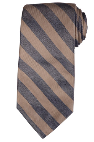 KITON Napoli Hand-Made Seven Fold Beige-Blue Striped Silk Tie NEW - SARTORIALE - 1
