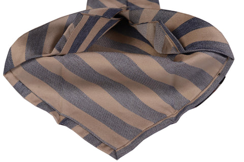 KITON Napoli Hand-Made Seven Fold Beige-Blue Striped Silk Tie NEW - SARTORIALE - 2