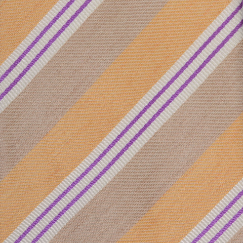 KITON Napoli Hand-Made Seven Fold Beige-Orange Striped Silk Tie NEW