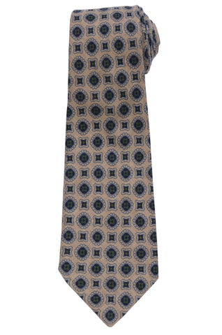 KITON Napoli Hand-Made Seven Fold Beige Circle Medallion Wool-Silk Tie NEW
