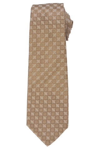 KITON Napoli Hand-Made Seven Fold Beige Floral Silk Tie NEW