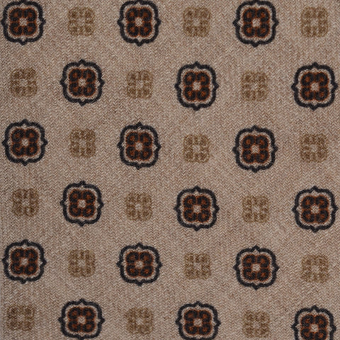 KITON Napoli Hand-Made Seven Fold Beige  Medallion Wool-Silk Tie NEW