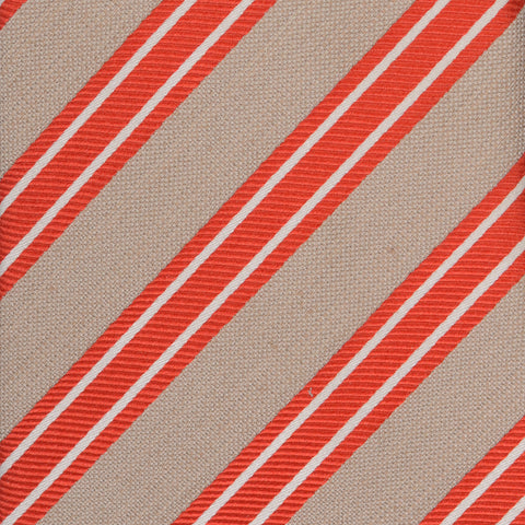 KITON Napoli Hand-Made Seven Fold Beige Narrow-Striped Silk Tie NEW