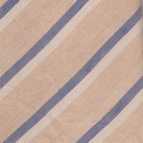 KITON Napoli Hand-Made Seven Fold Beige Regimental Striped Linen Tie NEW - SARTORIALE - 4