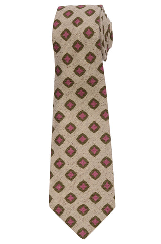 KITON Napoli Hand-Made Seven Fold Beige Square Medallion Silk Tie NEW