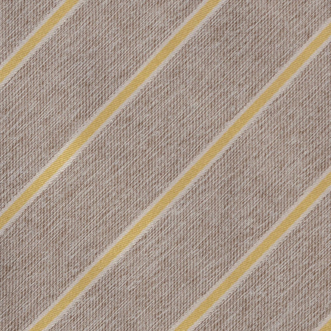 KITON Napoli Hand-Made Seven Fold Beige Striped Silk Tie NEW