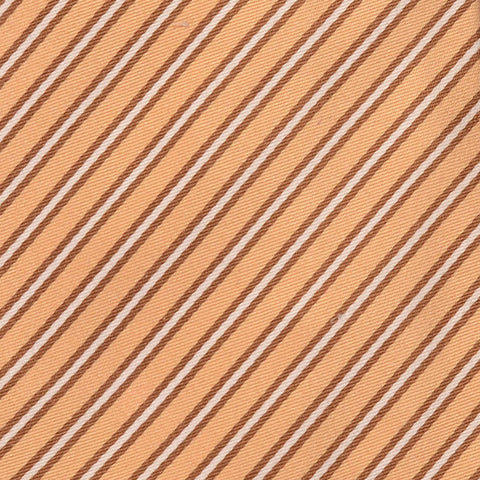 KITON Napoli Hand-Made Seven Fold Beige Striped Silk Tie NEW - SARTORIALE - 4
