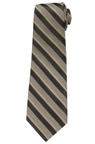 KITON Napoli Hand-Made Seven Fold Beige Textured Narrow-Striped Silk Tie NEW