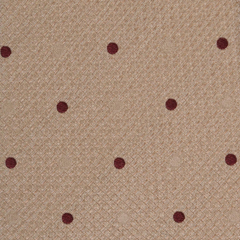 KITON Napoli Hand-Made Seven Fold Beige Textured Polka Dot Silk Tie NEW