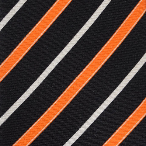 KITON Napoli Hand-Made Seven Fold Black-Orange Striped Silk Tie NEW