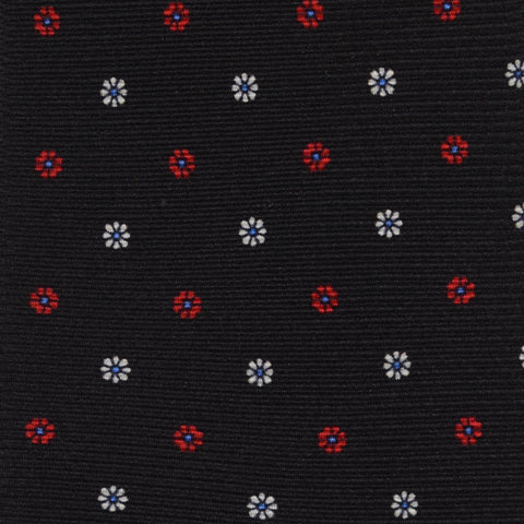 KITON Napoli Hand-Made Seven Fold Black Floral Textured Silk Tie NEW