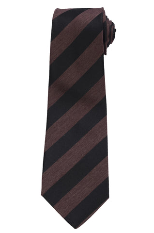 KITON Napoli Hand-Made Seven Fold Black Narrow Striped Textured Silk Tie NEW