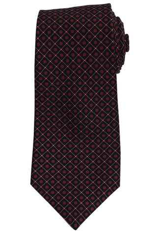 KITON Napoli Hand-Made Seven Fold Black Pink Plaid Silk Tie NEW