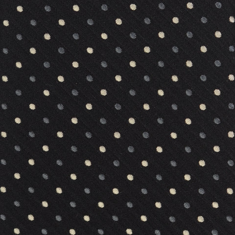 KITON Napoli Hand-Made Seven Fold Black Polka-Dot Silk Tie NEW
