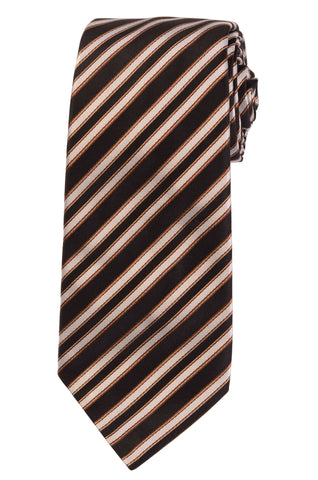 KITON Napoli Hand-Made Seven Fold Black Regimental Repp Striped Silk Tie NEW - SARTORIALE - 1