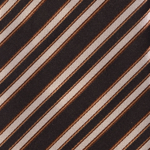KITON Napoli Hand-Made Seven Fold Black Regimental Repp Striped Silk Tie NEW - SARTORIALE - 4