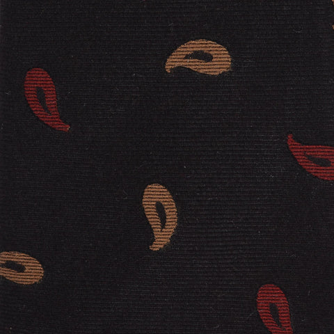 KITON Napoli Hand-Made Seven Fold Black Small Paisley Silk Tie NEW