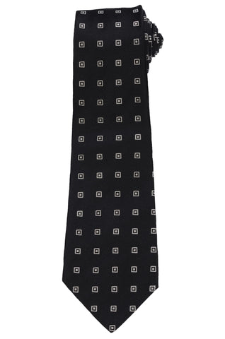 KITON Napoli Hand-Made Seven Fold Black Square Medallion Silk Tie NEW