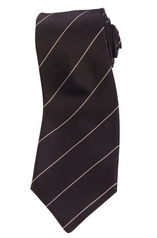 KITON Napoli Hand-Made Seven Fold Black Striped Silk Tie NEW