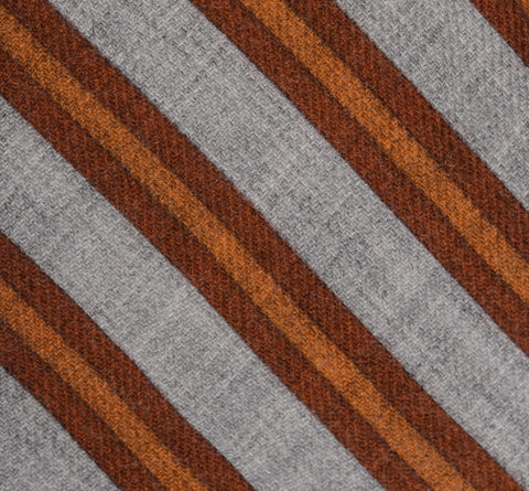 KITON Napoli Hand-Made Seven Fold Gray-Brown Striped Wool-Silk Tie NEW