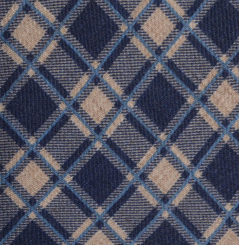 KITON Napoli Hand-Made Seven Fold Blue-Beige Plaid  Wool-Silk Tie NEW