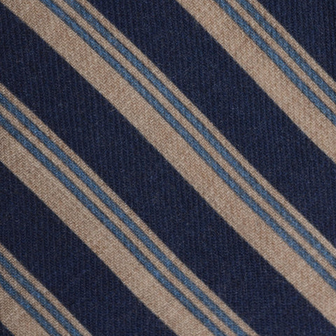 KITON Napoli Hand-Made Seven Fold Blue-Beige Striped Wool-Silk Tie NEW