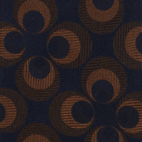 KITON Napoli Hand-Made Seven Fold Blue-Brown Round Medallion Silk Tie NEW