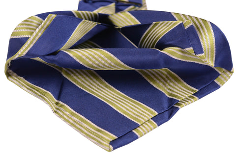 KITON Napoli Hand-Made Seven Fold Blue-Green Striped Silk Tie NEW - SARTORIALE - 2