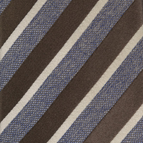 KITON Napoli Hand-Made Seven Fold Blue-Silver Repp Striped Silk Tie NEW