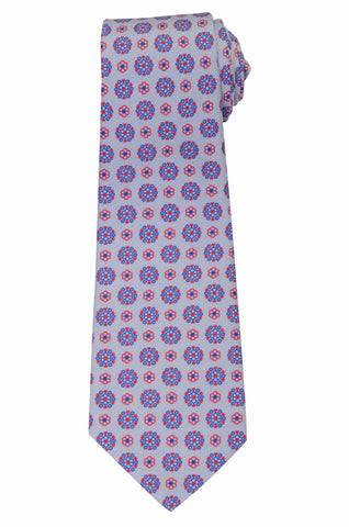 KITON Napoli Hand-Made Seven Fold Blue Flower Medallion Silk Tie NEW