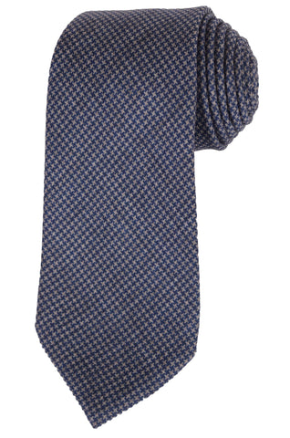 KITON Napoli Hand-Made Seven Fold Blue Sheperd's Check Wool-Silk Tie NEW