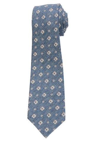 KITON Napoli Hand-Made Seven Fold Blue Medallion Silk Tie NEW