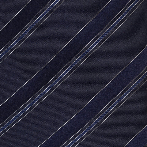 KITON Napoli Hand-Made Seven Fold Blue Narrow-Striped Silk Tie NEW