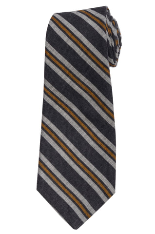 KITON Napoli Hand-Made Seven Fold Blue Narrow-Striped Wool-Silk Tie NEW