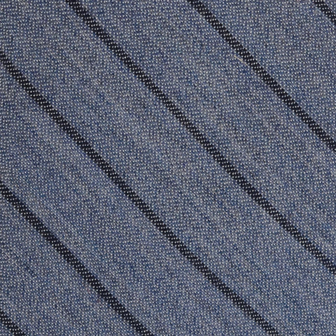 KITON Napoli Hand-Made Seven Fold Blue Narrow Striped Silk Tie NEW