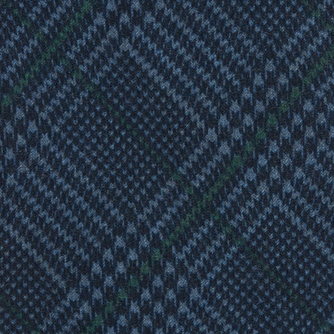 KITON Napoli Hand-Made Seven Fold Blue Plaid Wool-Silk Tie NEW