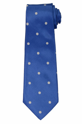 KITON Napoli Hand-Made Seven Fold Blue Polka-Dot Silk Tie NEW