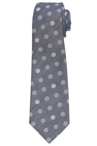 KITON Napoli Hand-Made Seven Fold Blue Polka Dot Silk Tie NEW