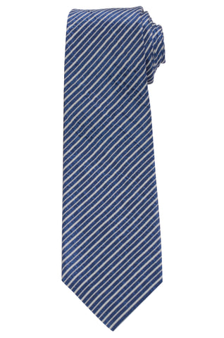 KITON Napoli Hand-Made Seven Fold Blue Rope Striped Textured Silk Tie NEW